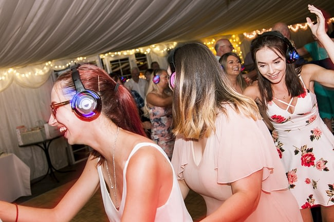 Book a silent disco wedding DJ or headphone equipment rental