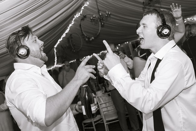 Silent disco wedding hire with LED headphones over 3 channels of music