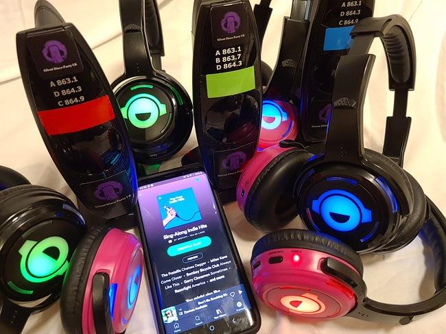 Silent disco headphones & equipment setup